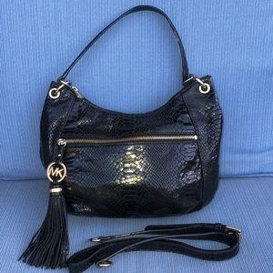 Michael Michael kors Black Croc Embossed hobo bag